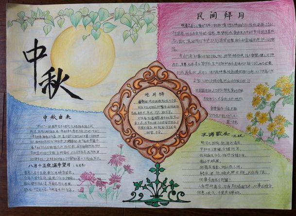 2016最新中秋节手抄报图片模板大全下载